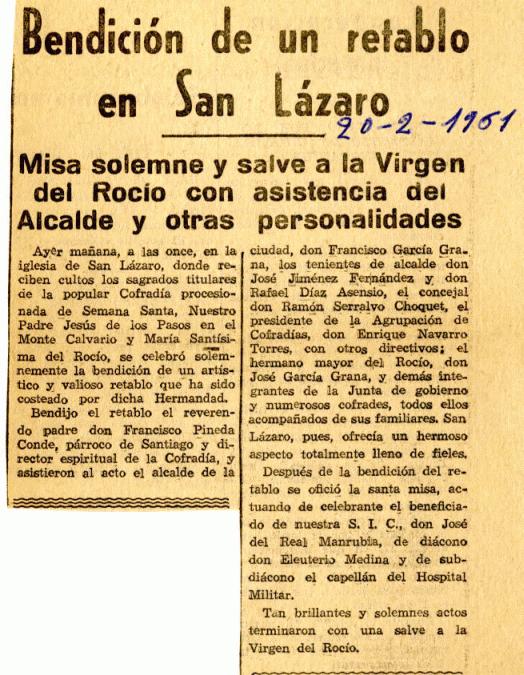 Recorte de prensa con la bendición del retablo de San Lázaro. Archivo Díaz de Escobar